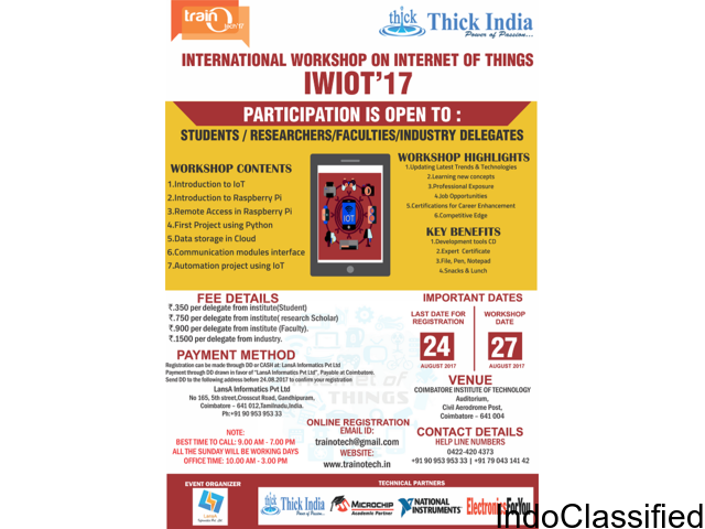 Internet of Things Workshop in Coimbatore