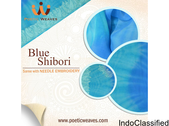Blue Shibori Georgette Saree with Needle Embroidery at Affordable Cost