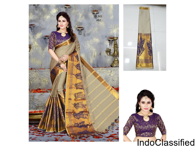 Saree With High Weaving Blouse