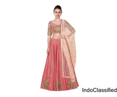 Peach embroidered lehenga choli with net dupatta at Mirraw