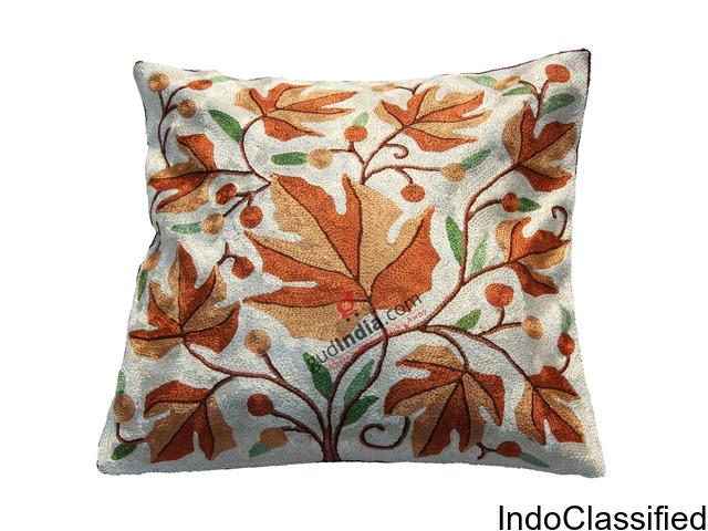 Chain Stitched Silver Chinar Design Kashmiri Cushion Cover CCSAN_IMG_2224A