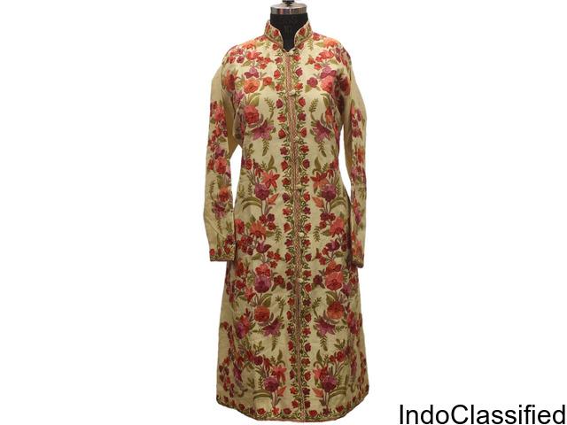 Off White Multicolored Kashmiri Embroidered Aari Silk Jacket JKSJIMG_2115A
