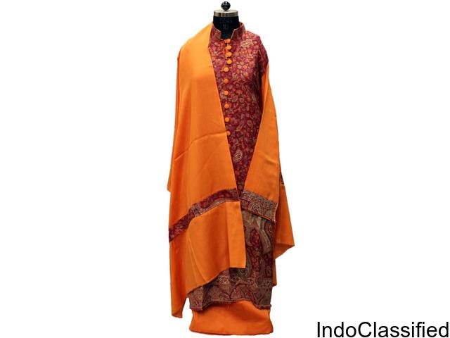 Handmade Pashmina Orange Kashmiri Kani Suit (SKSSAN_2302A)