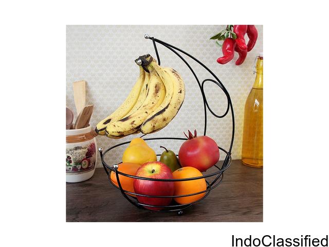 Powder Coated Fruit Basket, 10X10X13.7, Black
