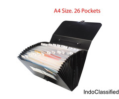 Plastic Expanding File Folder with 26 Section Pockets, A4 Size, Black