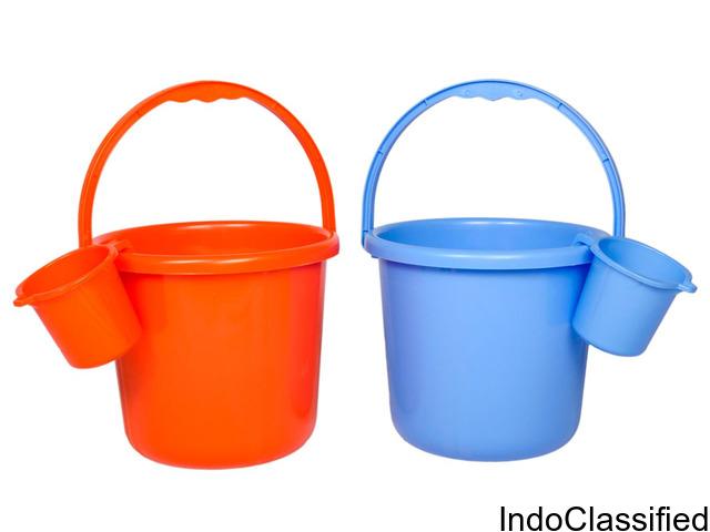 Bucket - Assorted Colour, 16 L + Metro Mug - Plain, Assorted, 1 L, Combo (2 Items)