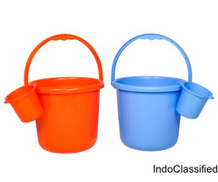 Bucket - Assorted Colour, 16 L + Metro Mug - Plain, Assorted, 1 L, Combo (2 Items)