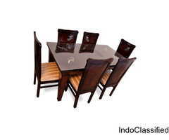 Classic Dinner Table Set, Dining Table & Chairs, Walnut Color Dinner Table