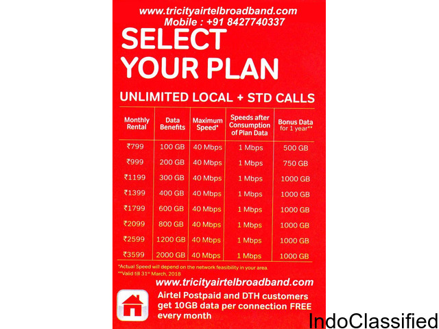 Airtel Broadband Connection & Plans in Mohali
