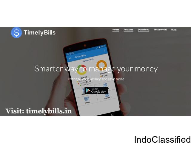 Free Bill Reminder Application Online - Timelybills.in