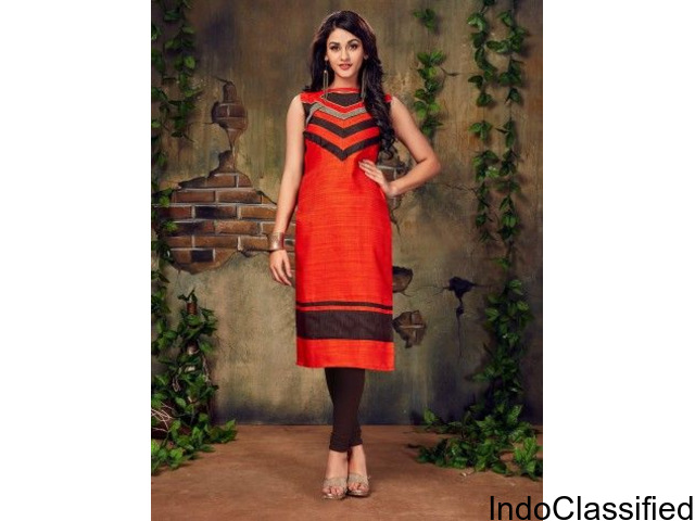 Fashion Zonez Lace Work Plain Designer Kurti