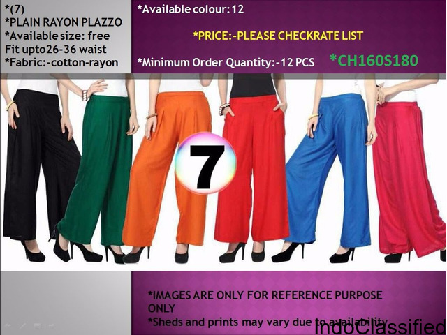 Buy online Plain Rayon Palazzo at affordable prices