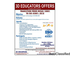 Tranition from OHSAS 18001 to ISO 45001 course offerd by 3D educators
