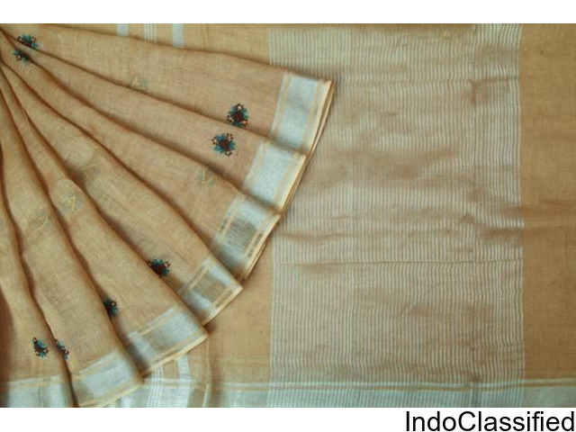 online shopping for pretty casual cool linen floral embroidery sarees @ singhanias 2018