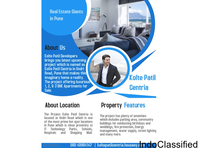 3 BHK Residential Apartment for Sale at Undri Road, Pune - Kolte Patil Centria