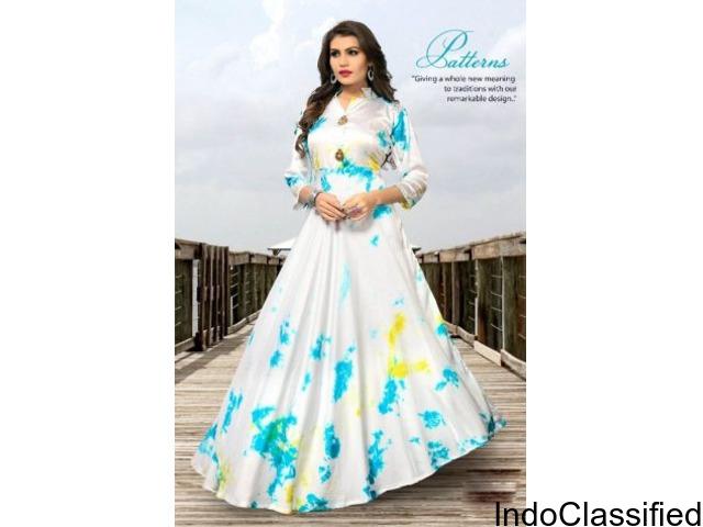Buy Fashion Zonez White Satin Silk Shibori Print Kurti Online