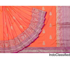 online shop for awesome party colorful banarasi georgette sarees @ singhanias 2018