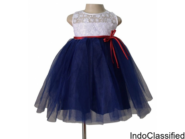 Buy Stylish Girls Designer Dress in Blue and White from Faye