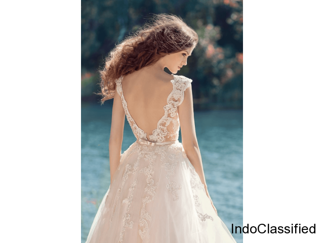 A line v back wedding gown | ByCouturier