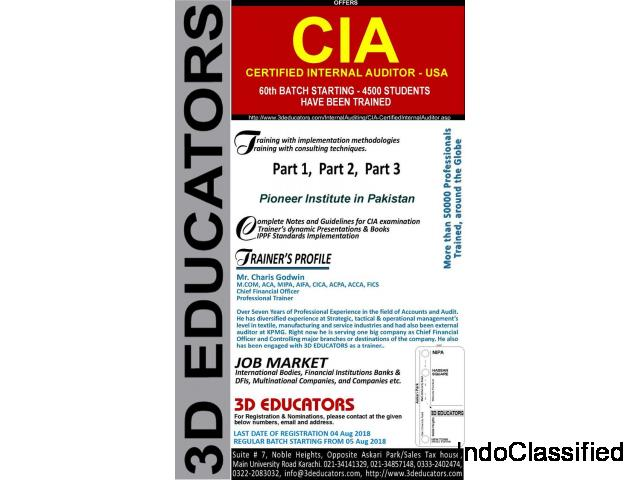 Certified Internal Auditor course offerd by 3d educators