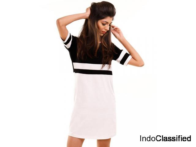 HALFTONE Brilliant White-Jet Black Miami Trim Half Sleeve T Shirt Dress