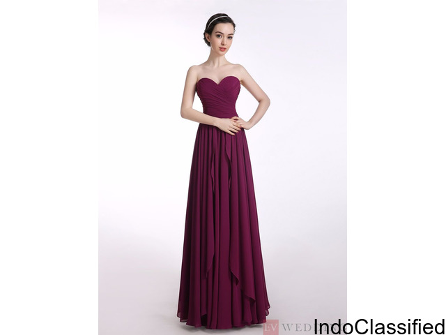 A-Line Sweetheart Long Chiffon Fuchsia Long Prom Dress With Ruffles