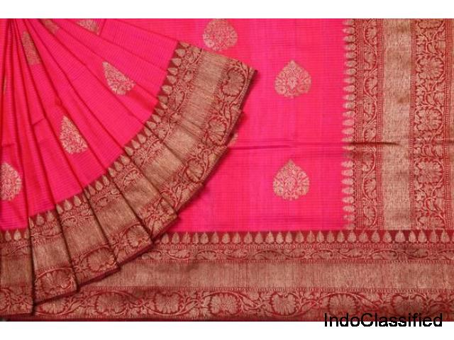 Online shopping for wedding wear banarasi tussar silk saris collection @ 2018 singhanias hyderabad