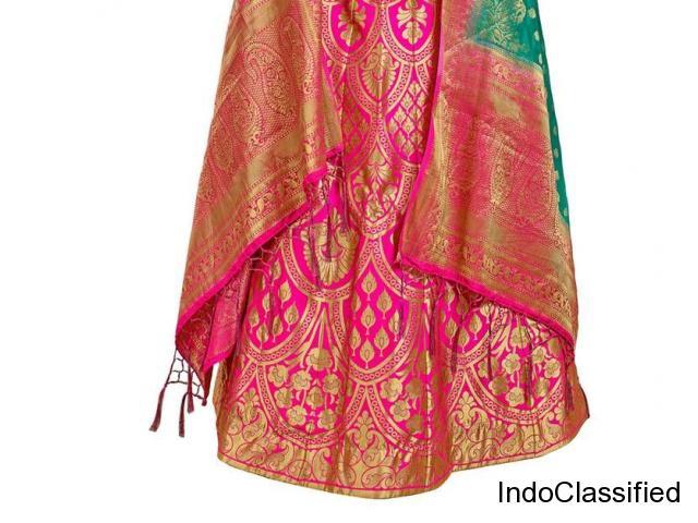 Pink & green jacquard banarasi silk lehenga choli with blouse at Mirraw