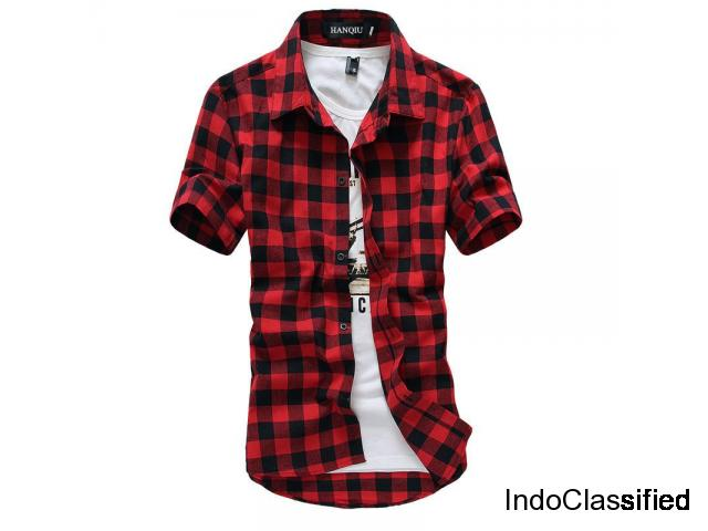 Men Plaid Shirts & T Shirt Fashion Style 2018