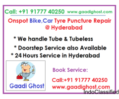 Onspot flat tyre repair in Hitech City | Flat Tyre Service at Home