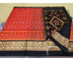 Pure handloom ikkat double warp silk by cotton sarees