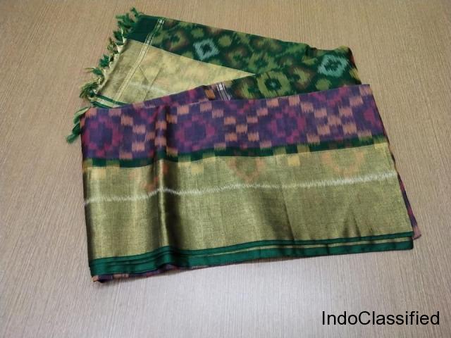 Pure handloom ikkat double warp silk by cotton sarees