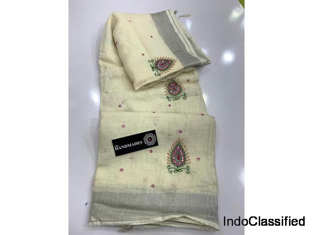 Pure Linen Sarees with Latest Mirror Work with Silver Jari Border(200 count)