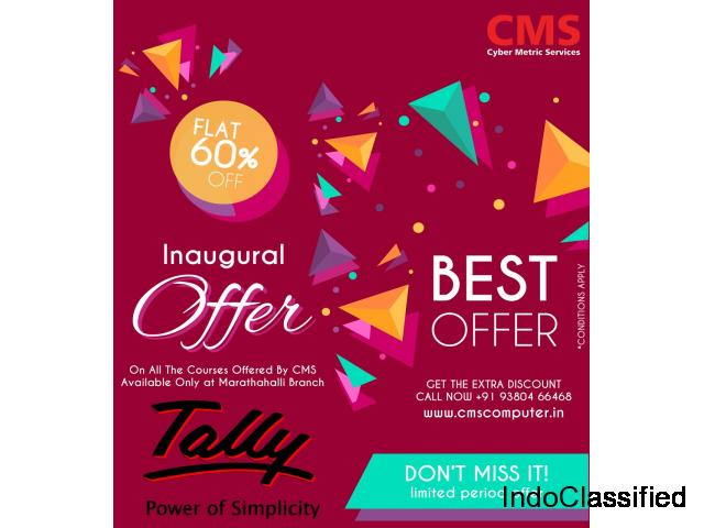 Inaugural Offer! Flat 60 % OFF on Advanced Tally ERP 9 with GST Training in Marathahalli, Bengaluru.
