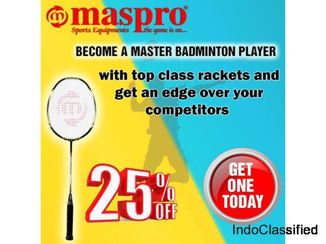 Super Quality Badminton rackets upto 25 percent off at Maspro