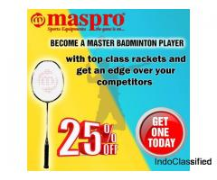 Super Quality Badminton rackets upto 25 percent off at Maspro