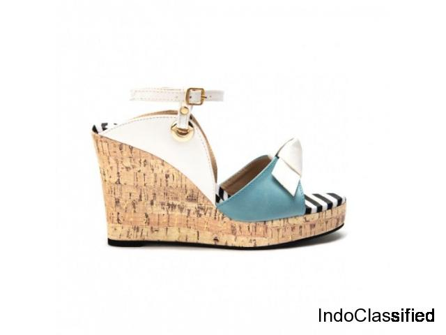 Buy Joanna White And Blue Peep Toe Wedge Heels for Women at PAIO Shoes