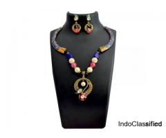 Kundan Meenakari Pipe Curvy Pendant Necklace Set from Sheorna