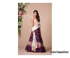 Floral embroidered banglori silk bollywood lehenga choli dupatta set at Mirraw