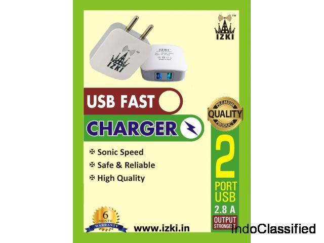 IZKI Smart Phone Fast Charger 2.8Amp  Dual Port