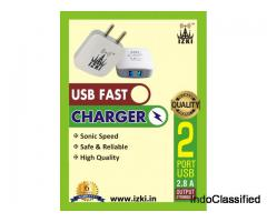 IZKI Smart Phone Fast Charger 2.8Amp  Dual Port
