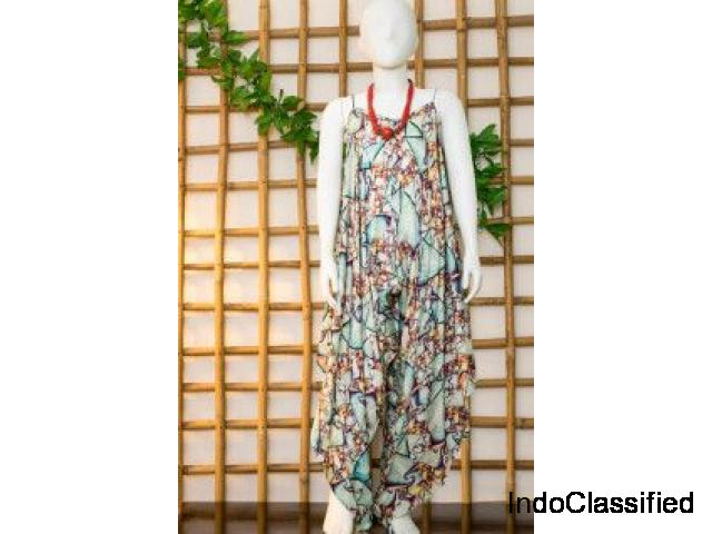 Buy Aqua Green Dhoti Jumpsuit for Girls - Olesia