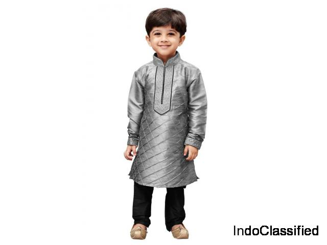 Boys' grey cotton silk kurta and pyjama set