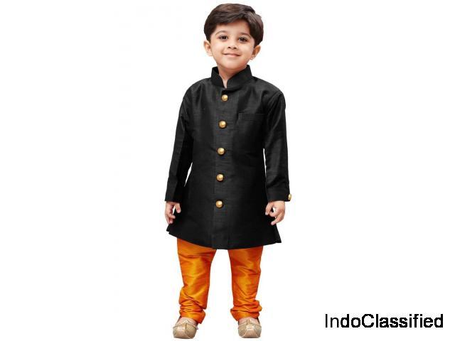 Black solid silk blend boys sherwani