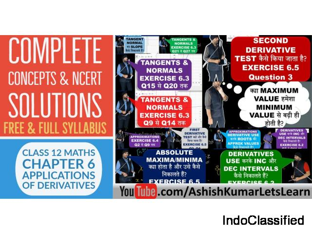 Deep Learning Tutorial for Applications of Derivatives Class 12 Maths