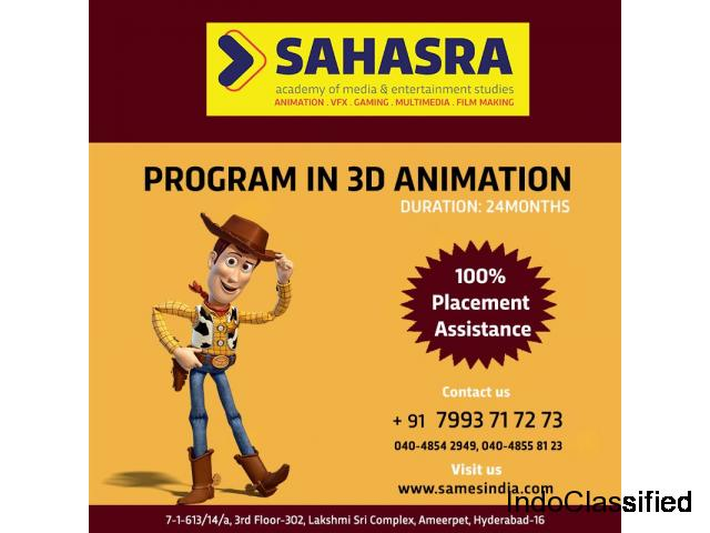 TOP 3D ANIMATION TRAINING INSTITUTE IN HYDERABAD.