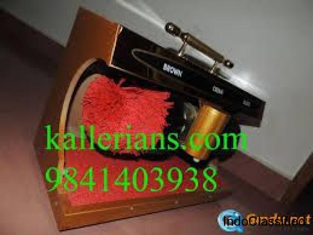 Shoe shining machine, shoe polish, leather shoes black & brown..... kallerians