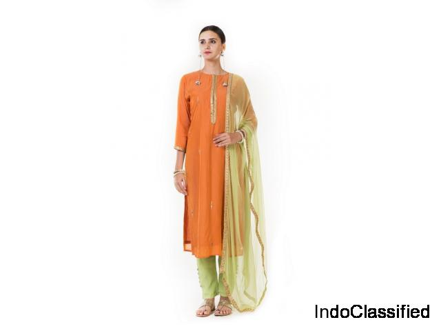 Orange Silk Kurti & Straight Pant Salwar Suit Set with Dupatta