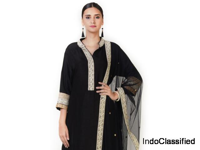 Hand Embroidered Black Silk Double Layer Anarkali Suit Set With a Dupatta