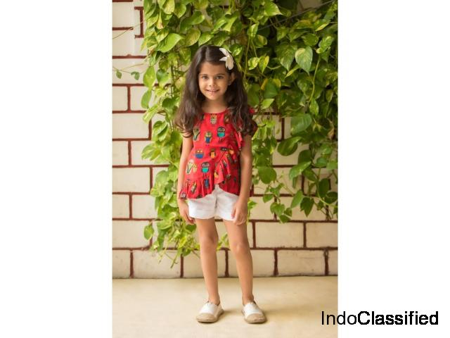 Cotton printed kids top and shorts at Mirraw